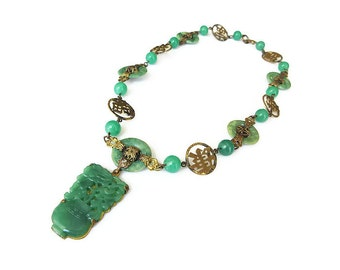 Art Deco Necklace, Jade Glass, Czech, Chinese Symbol, Gold Tone, Vintage Necklace, Antique Jewelry