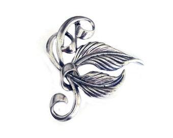 Sterling Leaf Brooch, Sterling Silver, Stylized Leaf, Autumn Leaves, Antique Brooch, Vintage Brooch, Vintage Jewelry
