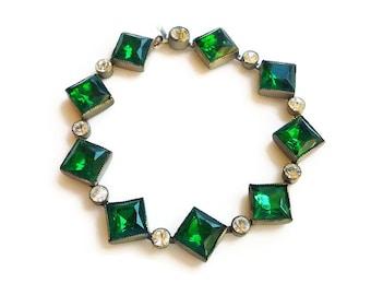 Art Deco Bracelet, Czech Glass, Emerald Green Clear, Paste Rhinestone, Silver Pot Metal, Antique Jewelry