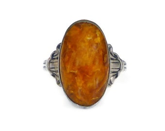 Uncas Ring, Sterling Silver Ring, Agate Quartz, Brown Orange, Made in USA, Vintage Jewelry