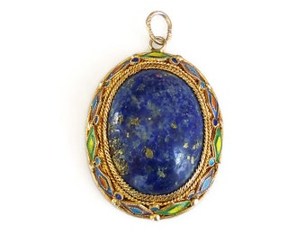 Chinese Export, Silver Pendant, Gold Plated, Lapis Lazuli, Enamel, Vintage Jewelry