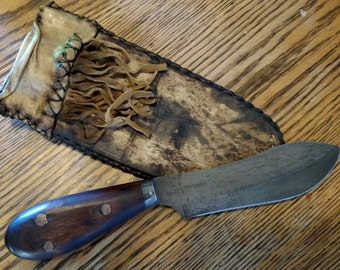 Hand Made Mountain Man Nessmuk Knife with Rawhide Sheath