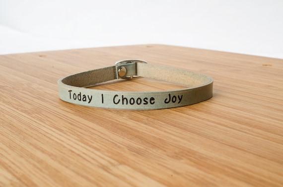 Today I Choose Joy Custom Skinny Adjustable Leather Bracelet Turquoise