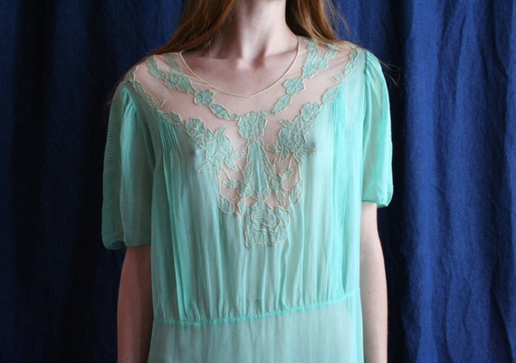 20s Cotton Dress / Size Large 1920's Garden Party Ethereal Dress / Wedding Dress / Mint Green Semi Sheer Lace Dress / Cute Out Embroidery