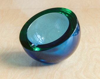 Scandinavian Sapphire Round Glass Ashtray