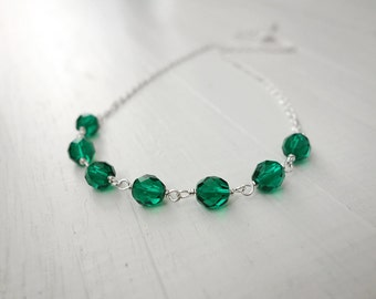 Green bead necklace chain necklace women's green necklace sparkly green beads