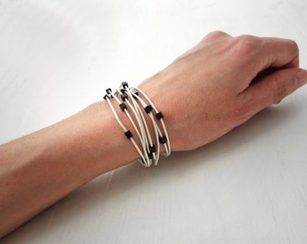 Leather wrap bracelet white leather bracelet black glass cubes minimalist wrap bracelet for women