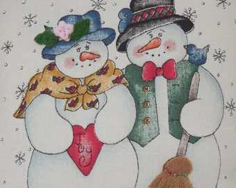 Mr. and Mrs. Snowman  Pillow
