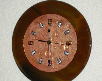 Fused Glass Copper Wall clock - Woodland Brown 9 inch Round