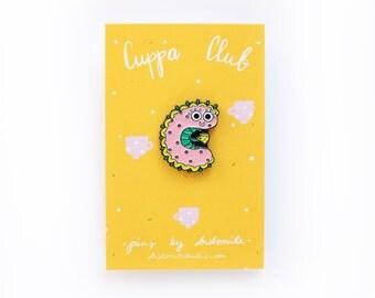 Cute Caterpillar Cuppa Club Enamel Pin