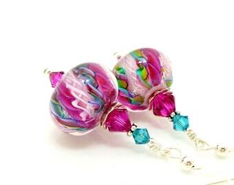 Hot Pink Earrings, Swirl Ribbon Earrings, Lampwork Earrings, Glass Earrings, Beadwork Earring, Unique Earrings, Lampwork Jewelry