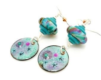 Colorful Enameled Copped Earrings, Metalwork Earrings, Copper Earrings, Lampwork Earrings, Dangle Earrings, Enameled Copper Earrings