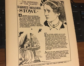 Book page print Harriet Beecher Stowe. 7x11aporox. Great for framing for the collector.
