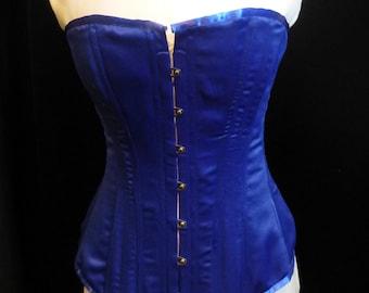 1879 Royal Blue Satin Corset, size 10
