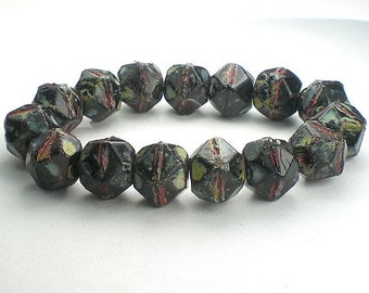 Picasso Czech Glass Beads 10mm Black Czech English Cut Beads Red, Green and Blue Picasso Bead 10 Pcs. E-161