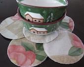 Mug or Bowls Mats Table protector Mats-Vinyl Flowers Damask