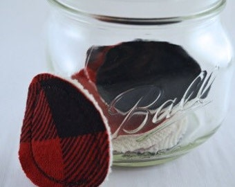 8pc • red • black • plaid • recycled • cotton • t-shirt • bathroom • vanity • make-up • rounds • 2 1/4in • 5.5cm