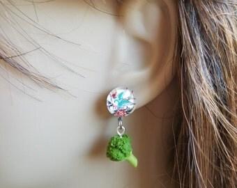 Vintage Tattoo Vegan Broccoli Earrings