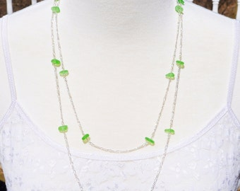 Sea Glass Jewelry Beach Necklace Forty Eight Inch Eternity in Lime Green 1904 Free Shipping