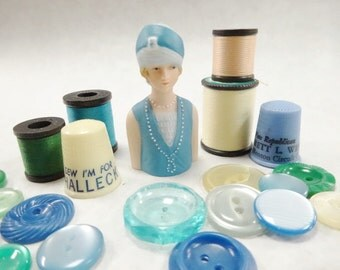Sew Charming Vintage Sewing Notions Avon Porcelain Fashion Lady Thimble Thread Spools Plastic Thimbles Handful Buttons