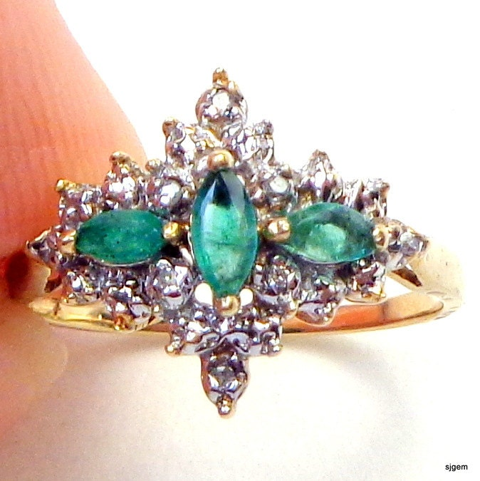 10k gold marquise cut emerald ring solid yellow gold