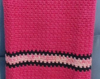 Crocheted Cotton Baby Blanket Pink and Blue Handmade