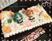 Kawaii Neptune and Uranus Sailor Moon themed Decoden 3DS XL Case
