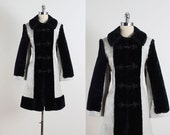 Glacial Mist . vintage 1960s coat . leather & faux fur coat . 5396