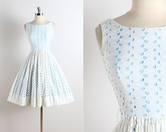 Vintage 50s Dress | vintage 1950s dress | white eyelet cotton xs | 5775