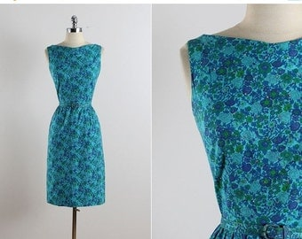 30% SALE Vintage 50s Dress | vintage 1950s dress | floral rhinestone dress small | 5765