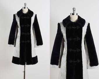 Glacial Mist . vintage 1960s coat . leather & faux fur coat . 5396