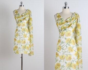 Lemon Drop . vintage 1950s dress . 50s party dress . 5266