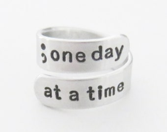 Semicolon ring one day at a time inspirational jewelry depression recovery gift suicide awareness accessory