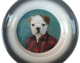 Buddy the Bulldog Portrait Plate - Altered Vintage Plate 6.25""