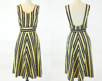 1940s Dress, Vintage 40s Dress, Yellow & Black Stripe Floral Print Cotton Sundress and Jacket Small