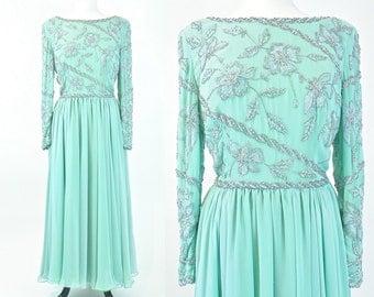 1980s Beaded Chiffon Dress, Evening Gown, 80s Evening Dress, Gossamer Gown, Vintage Wedding Party Dress M - L