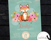 Woodland Fox Birthday Party Invitation, Forest Animals, Camping, Shabby Chic, Floral, DIY, Printed or Printable Invitations, Free Shipping