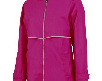 Monogrammed Full Zip Ladies Rain Jacket, rain jacket, rain coat