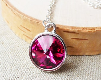 Magenta Crystal Necklace, Swarovski Necklace, Rivoli Necklace, Magenta Pendant, Fuchsia Necklace, Circle Pendant, Gifts for Her, Christmas