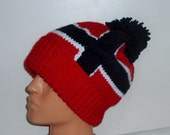 CUSTOM for Leah Hand KNIT NORWAY Flag Beret Hat with pom