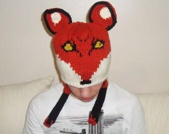 Hand Knit Fox Hat Adult Man Hat Winter Orange Fox Lovey Cute Fox Lover Gift For Men