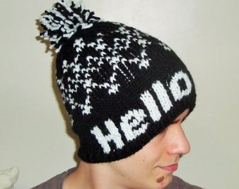 Personalized birthday gift, Knit Hat, Beanie in Black with White Hello Vine with Pom, birthday gift for friends