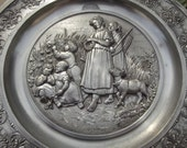 DARLING SKS Pewter Plate Marked W. Germany Vintage Embossed Die-cast Marvelous Country Scene Shepherdesses in Field with Kids Making Wreaths