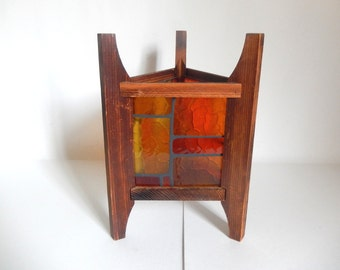Vintage 1970's Mod Cedar & Plastic Stained Glass 3 Sided Luminary