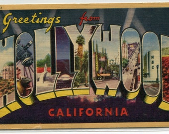 Greetings From Hollywood California Large Letter linen 1943 postcard