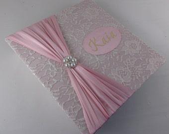 PHOTO ALBUM Girl Photo Album Personalized Photo Album girl baby photo album custom wedding photo album 4x6 5x7 8x10 picture pink ivory lace