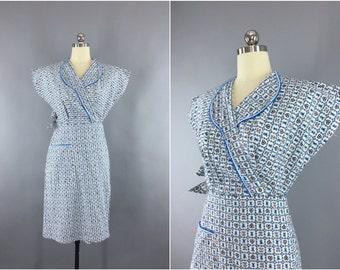 Vintage 1950s Dress / 50s Day Dress / 1940s Cotton Dress / 40 Wrap Dress / New Look Novelty Print Summer Dress