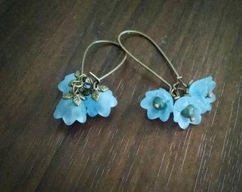 Bell Flower Cluster Earrings dangles blue antique brass kidney earwires glass plastic semi-precious aventurine petite long leaf beadcaps