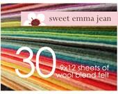 Wool Felt Sheets - Choose Any Thirty (30) - Merino Wool Blend Felt