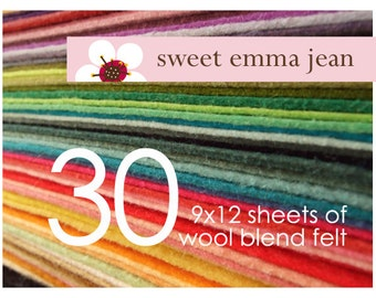 Wool Felt Sheets - Choose Any Thirty (30) - Merino Wool Blend Felt